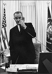 LBJ on phone