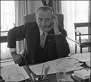 LBJ on telephone