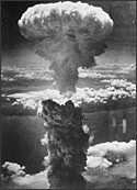 Atomic bomb exploding over Nagasaki