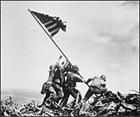 Raising flag on Iwo Jima