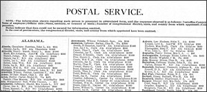 1911 Register page for the Postal Service