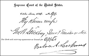 Lockwood's signature on document from case of Kaiser v. Stickney