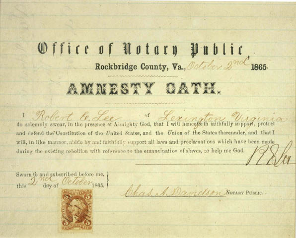 Robert E Lee's amnesty oath
