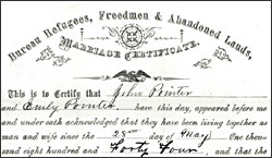Marriage certificate of John and Emily Pointer