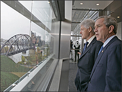 Clinton and Bush at Clinton Library on its opening day