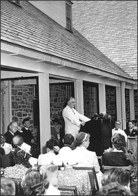 FDR speaking at the dedication of Presidential library
