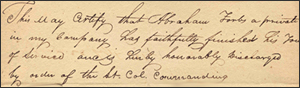 Forbes's Revolutionary War discharge certificate