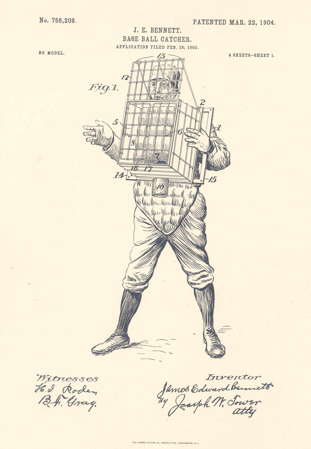 Patent for baseball catcher, 1904