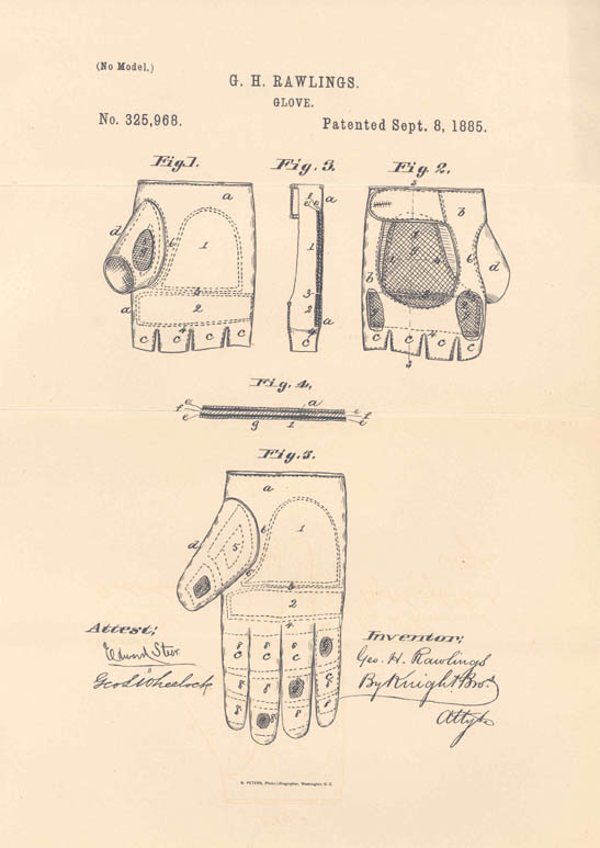 Patent for baseball glove