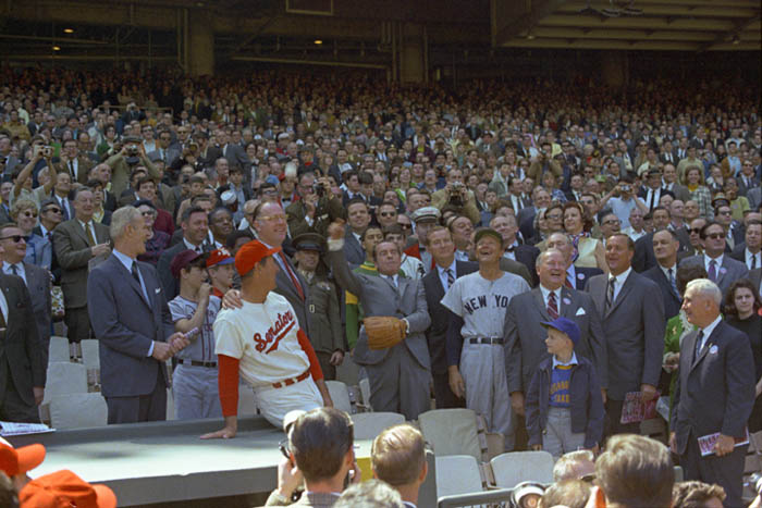President Nixon throws out basebal on opening day 1969