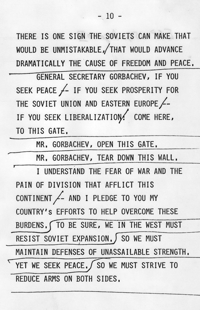 Tear Down This Wall  National Archives A Page From The Speaking Copy That Reagan Used In Berlin Showing The Tear  Down This Wall Line Ronald Reagan Library