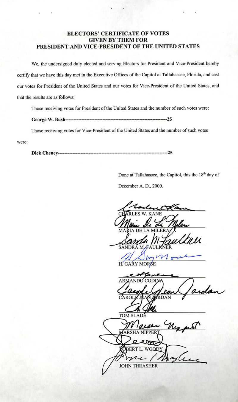 The electoral college national archives florida s certificate of votes wtih signatures dated december 18 2000 office of the federal register nara 1betcityfo Gallery