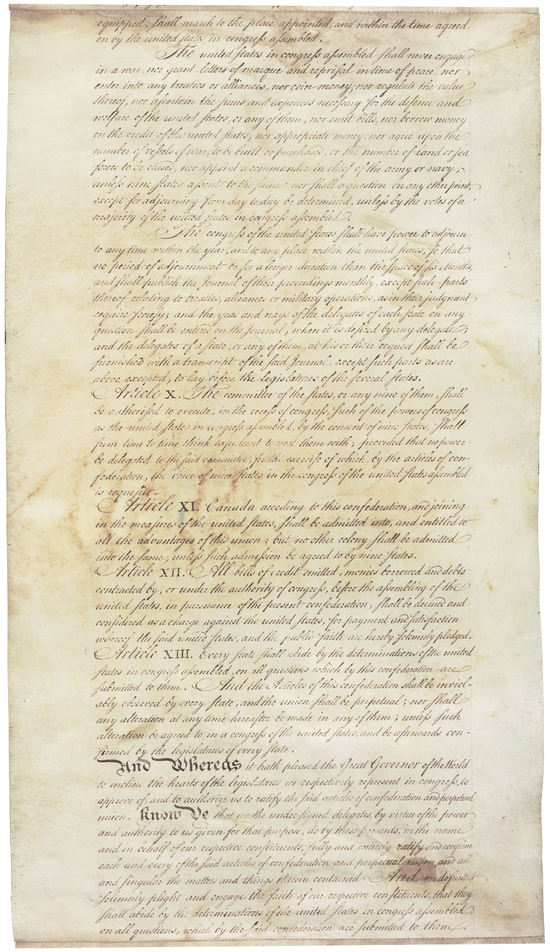 articles of confederation To all to whom these presents shall come, we the under signed delegates of the states affixed to our names, send greeting whereas the delegates of the united states of america, in congress assembled, did, on the 15th day of november, in the year of our lord one thousand seven hundred and seventy seven, and in the second year of the.