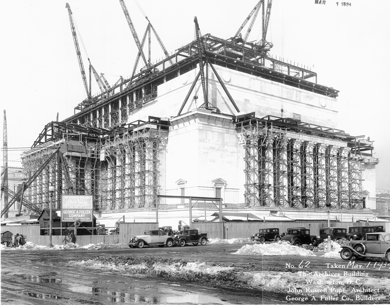 The National Archives building under construction, March 1, 1934.