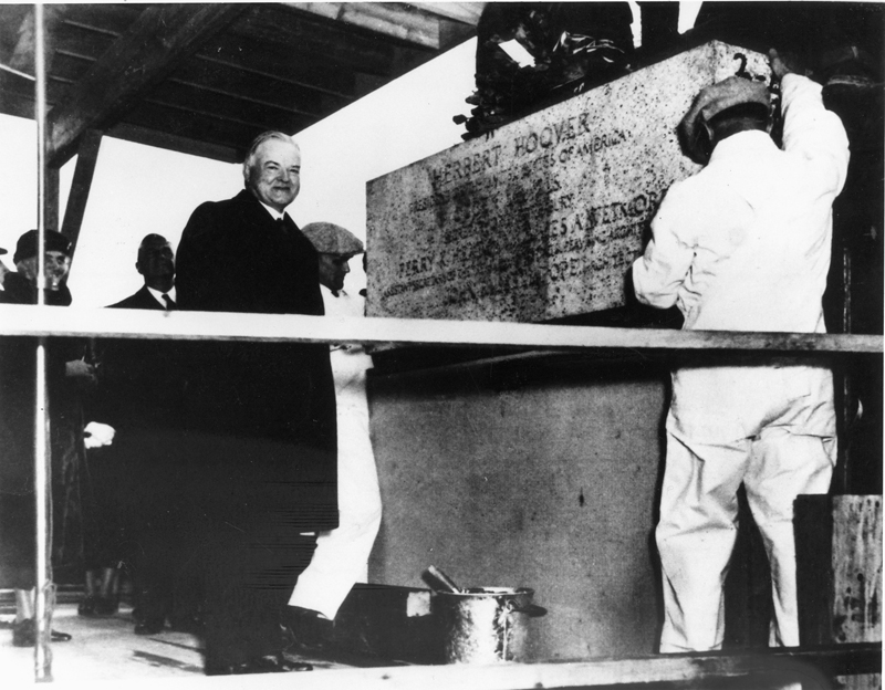 President Herbert Hoover celebrates the laying of the building s cornerstone