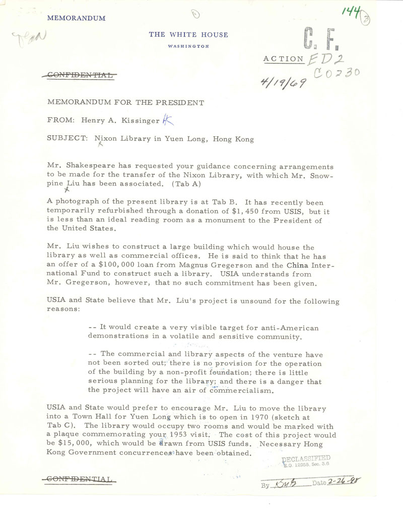 Memo from Henry Kissinger to President Nixon about Nixon Library in Hong Kong
