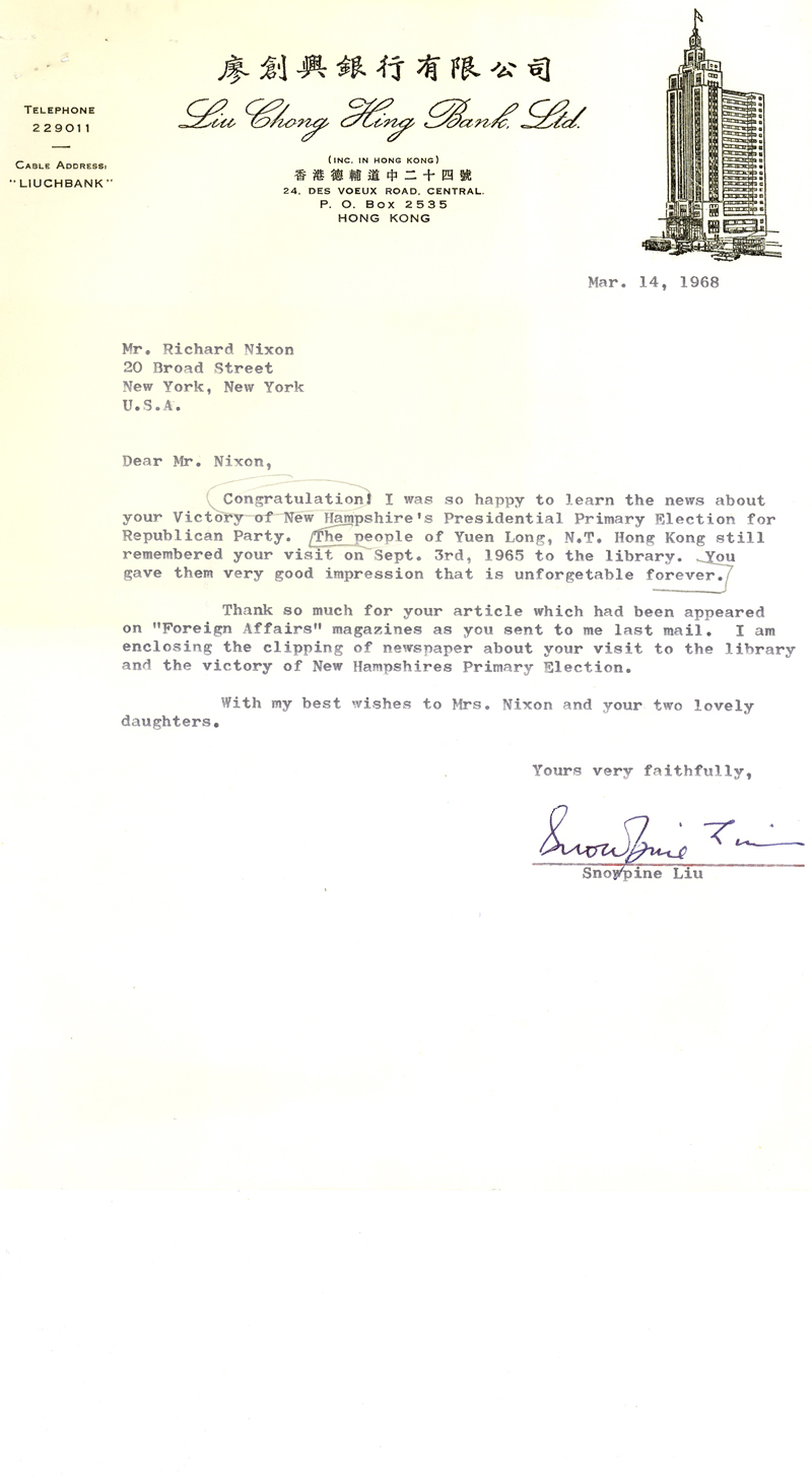 letter from Snowpine Liu to Richard Nixon