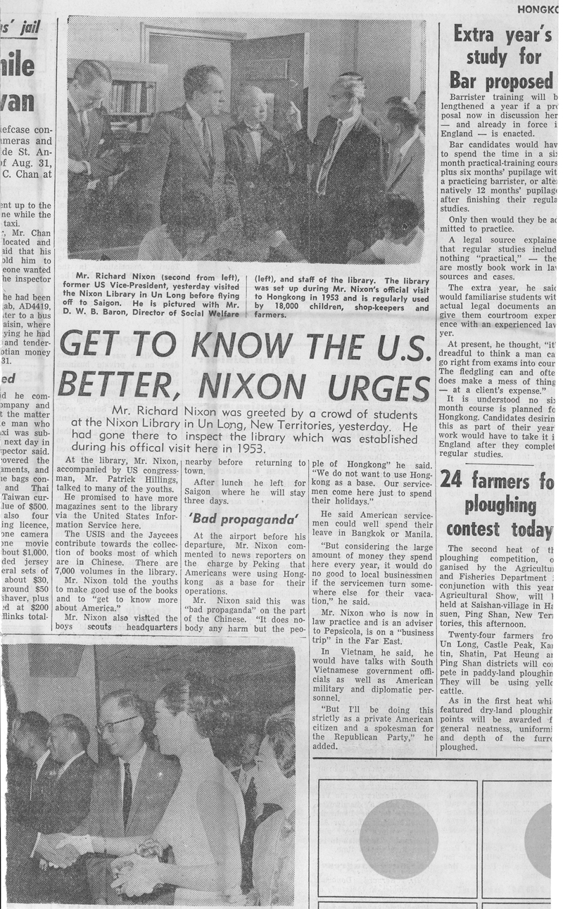 Newspaper story of Nixon's visit to the library named after him