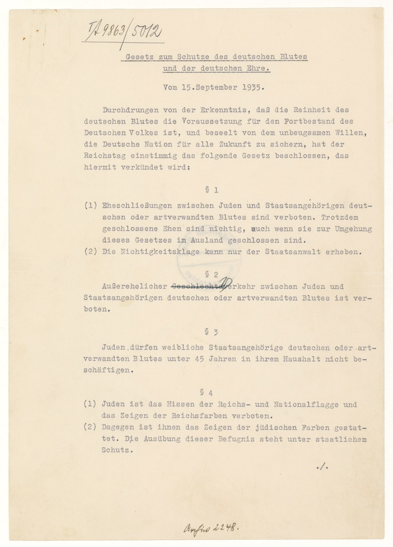 The Nuremberg Laws National Archives