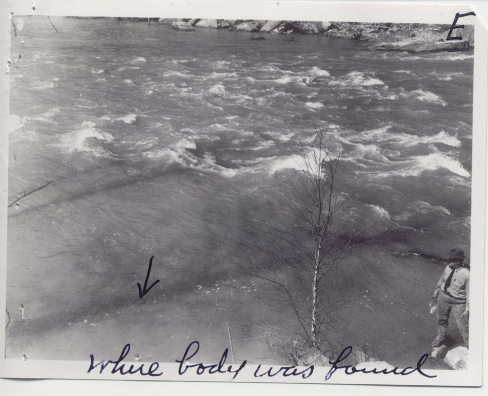 A series of photographs documented Roaden's death. The final image notes where his body was found.