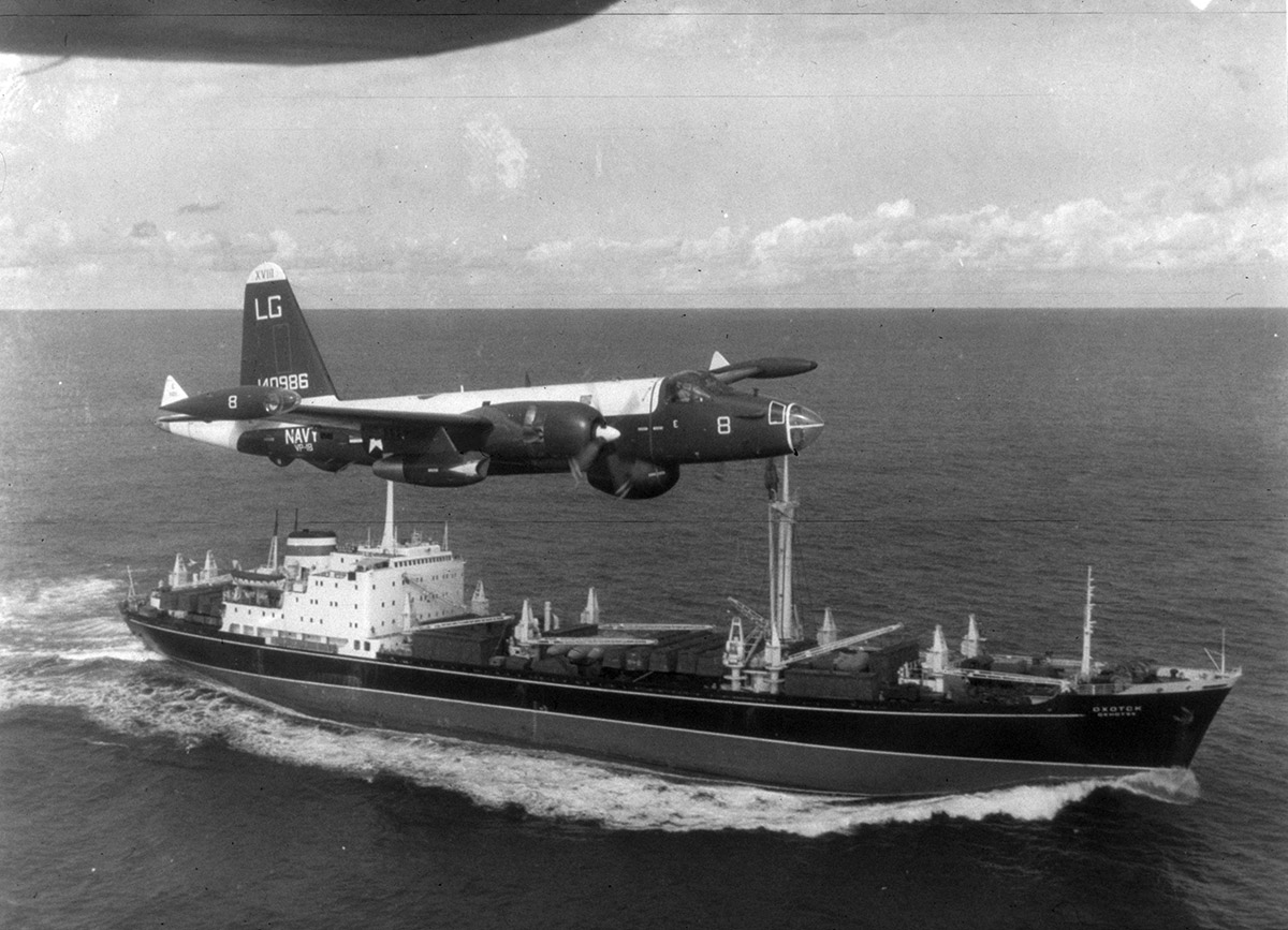 the n missile crisis at 50 national  a p2v neptune u s navy patrol plane flies over a soviet freighter 428 n 1065352
