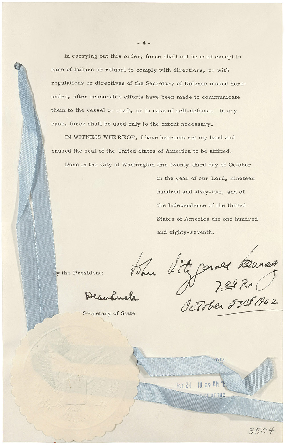 the n missile crisis at national archives the final signed page of the quarantine proclamation or interdiction of the delivery of offensive weapons to kennedy library