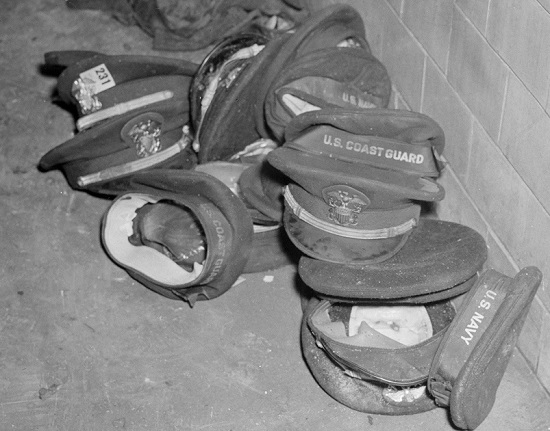 Hats of servicemen left after the Cocoanut Grove fire