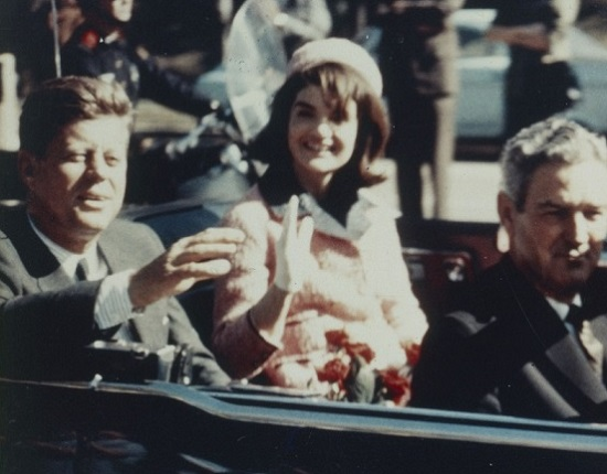 President and Mrs Kennedy in motorcade in Dallas, 1963