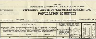 1930 Census Heading