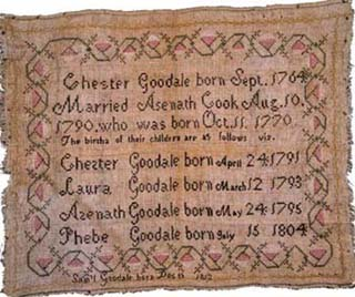 Laura Goodale's sampler