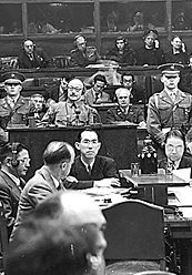Tojo on trial during the Japanese war crimes trial
