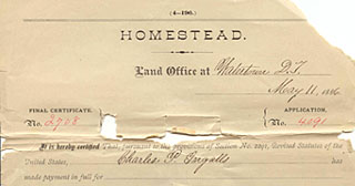Charles Ingalls's homestead application
