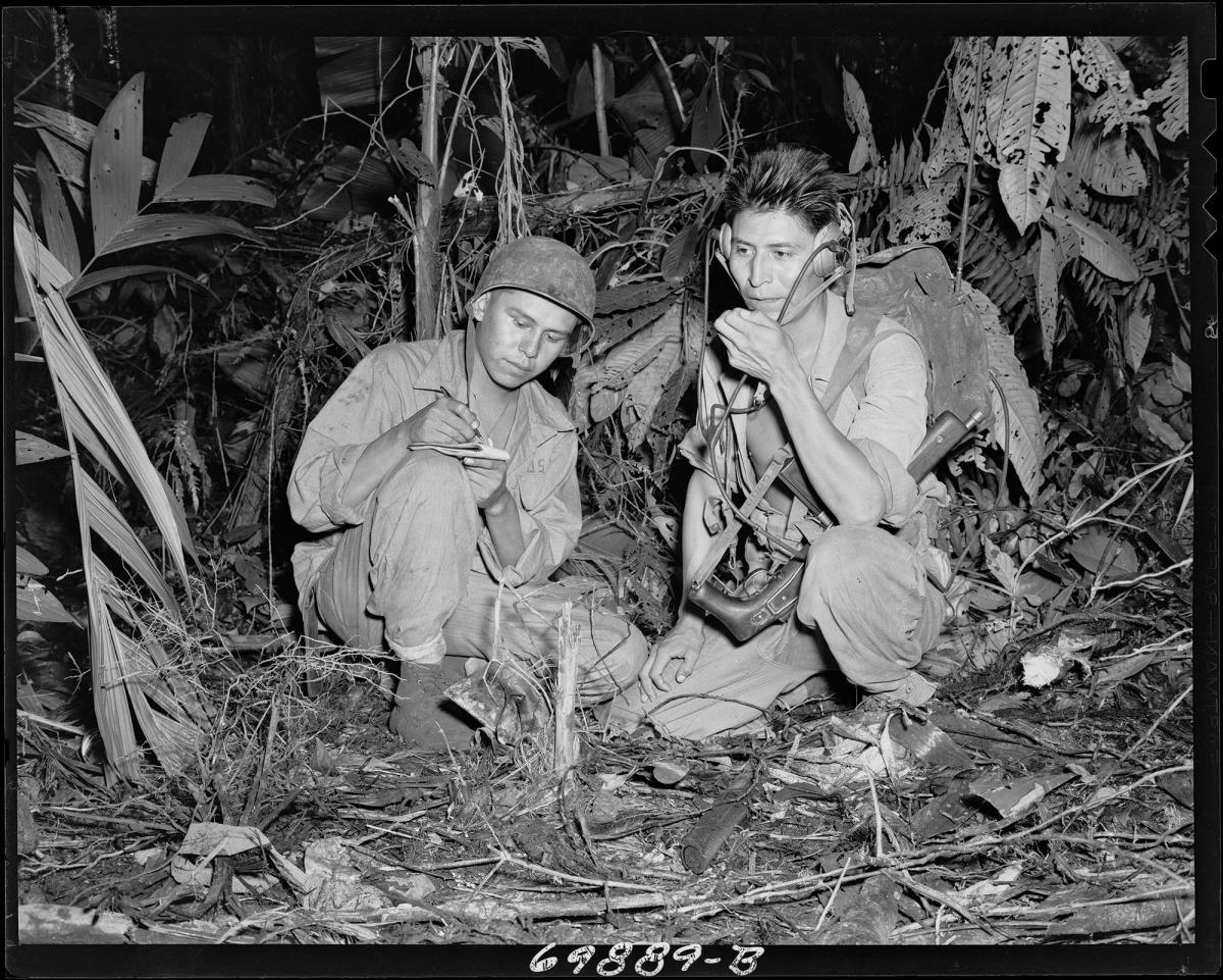 """Navajo code talkers in jungle"""