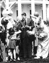 Reagans with Easter Bunny, 1983