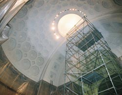 Rotunda dome being painted