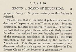 detail of page 11 of the Brown decision
