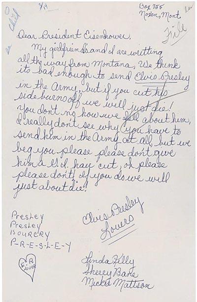 Detail letter from Elvis Presley fans to President Dwight Eisenhower ...