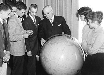 Truman with students