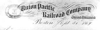 Letter head: Union Pacific Railroad Company, 1869