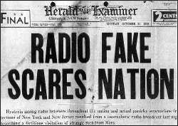newspaper headline Radio Fake Scares Nation