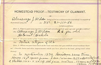 Almanzo Wilder's homestead proof