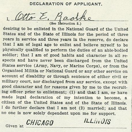 Otto Radke's oath of enlistment, World War I