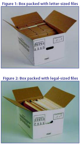 packed boxes with letter and legal sized files