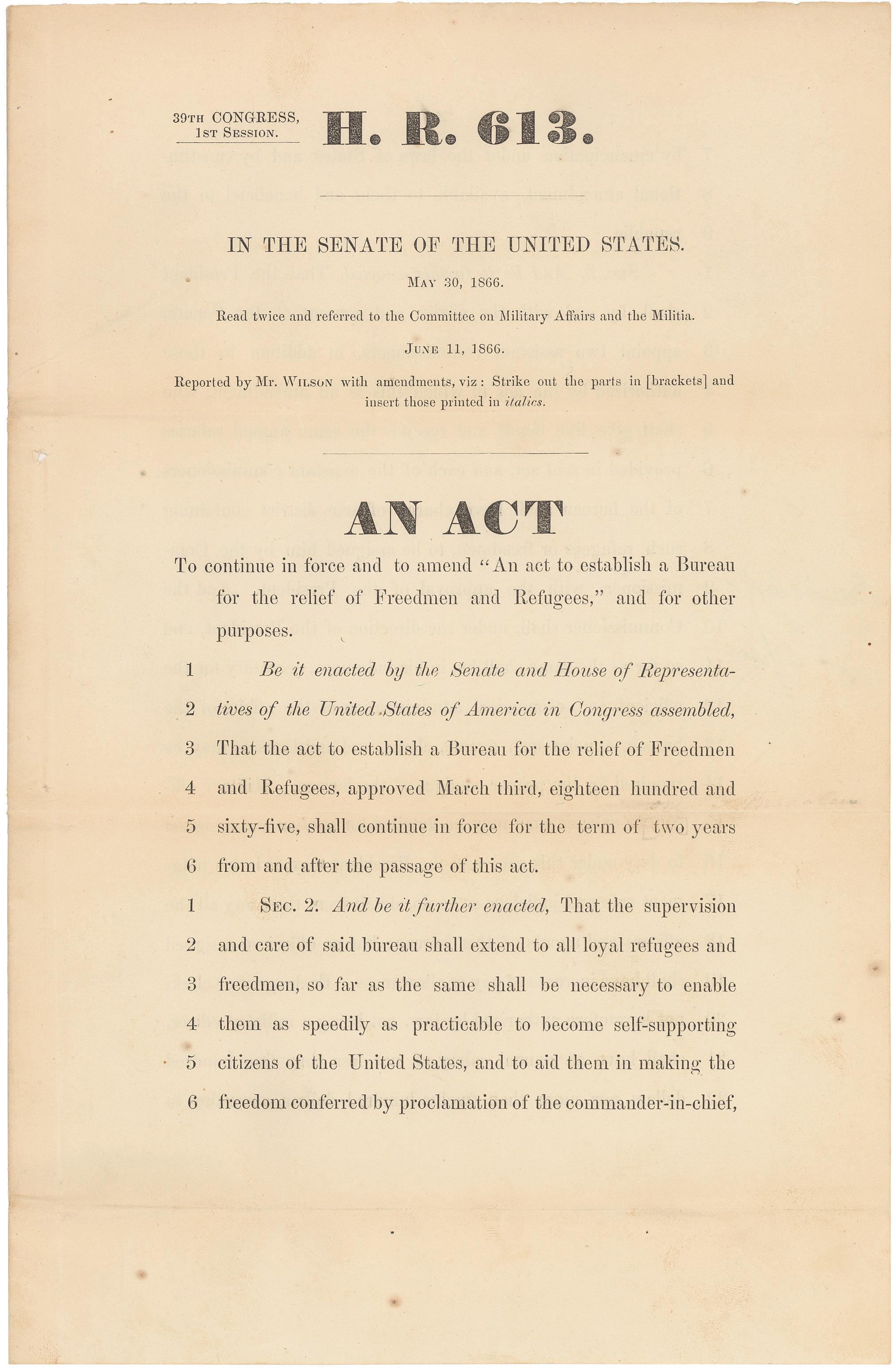 freedmens bureau act of 1865 essay