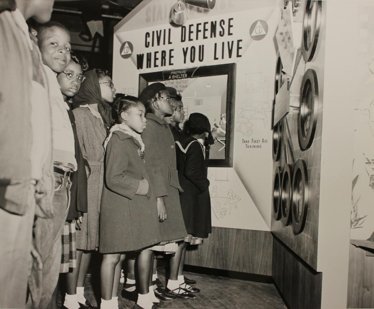 Children looking at Civil Defense exhibit, National Archives Identifier 6234458