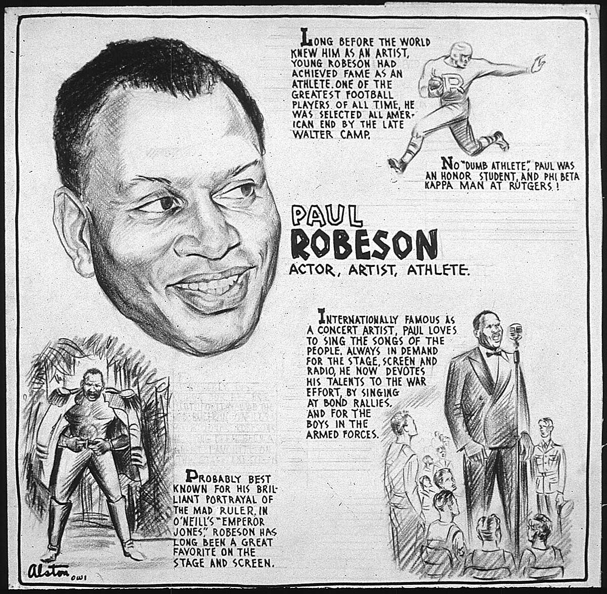 drawing of Robeson as actor, artist, athlete