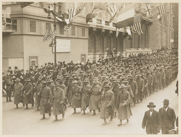 N.Y.'s Negro Regiment leaves for Training Camp marching up 5th Ave