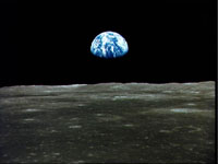 Earth taken from moon's surface