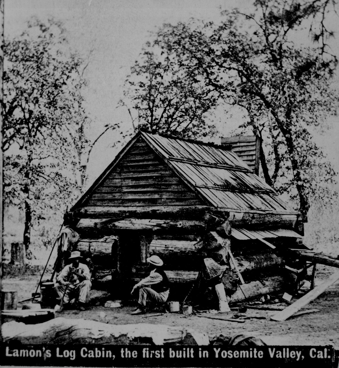 Wonderful image of Lamon's log cabin the first built in Yosemite Valley Calif. Their  with #666666 color and 1188x1289 pixels