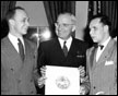 President Truman presents Blinded Veterans Association, Inc., with official insignia, 4/12/1948.